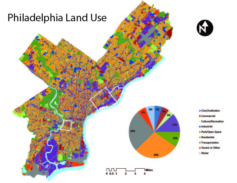 above is a land use map of philadelphia i made depicting the variety of different uses in the city for those of us that spend quite a bit of time looking